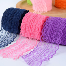 4.5CM Lace Ribbon Tape Trim Fabric DIY Embroidered Net Cord For Sewing Decoration African Lace Fabric Handmade Materials 10 meters lace ribbon tape 45mm wide trim fabric diy handicrafts embroidered net cord for sewing decoration african lace fabric