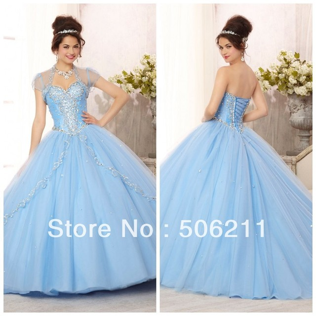 76ded3d93c Glamorous Silver Sequins Beading Layered Tulle Skirt Ball Gowns Light Sky  Blue Teenage Quinceanera Dresses Formal Gown ED181