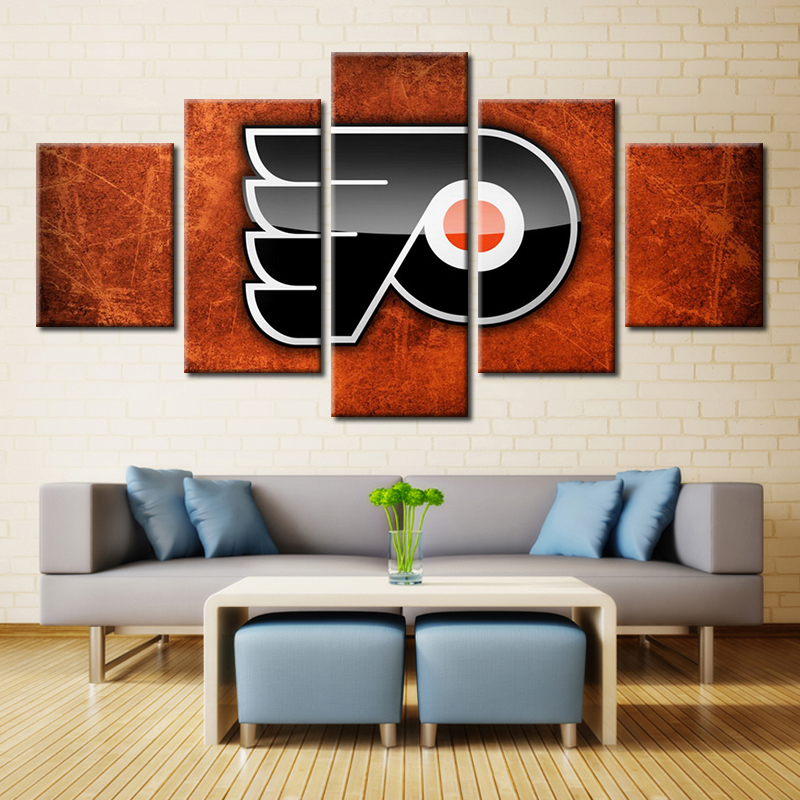 High Quality Ice Hockey Philadelphia Flyers Logo Canvas Paintings Modular Sport Poster Printer Home Decors