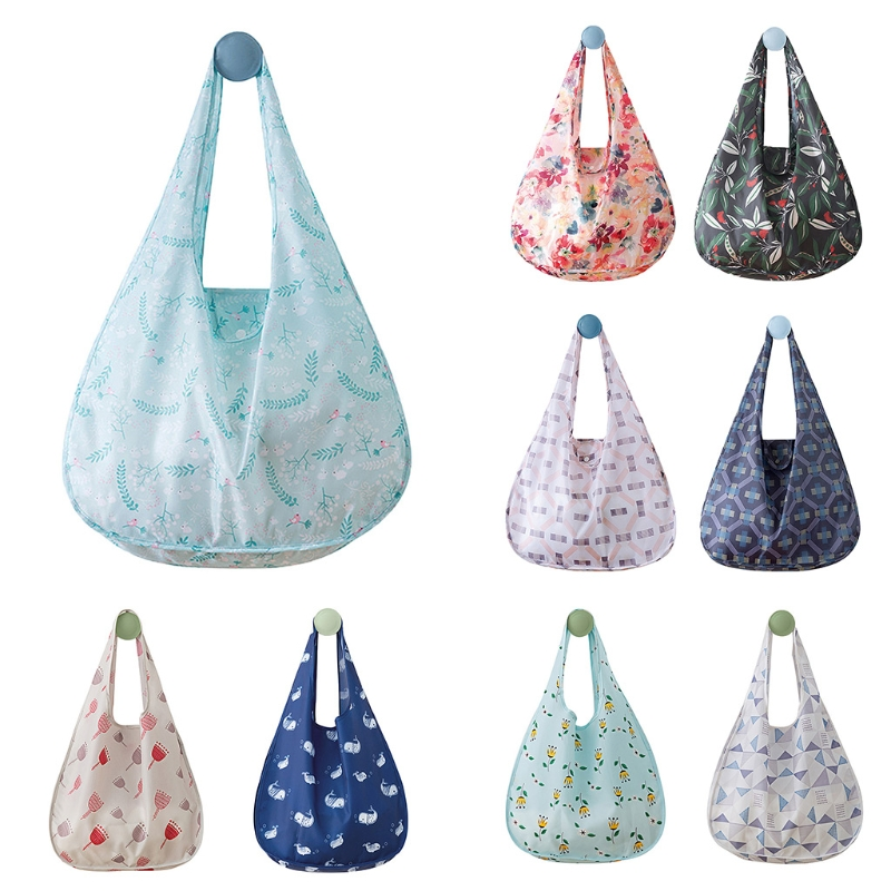 New Waterproof Polyester Folding Reusable Eco Shopping Bag Travel Pouch Tote Handbag Shoulder Bags Casual tote reusable portable bags waterproof strong folding handbag fashion women shopping bag brand folding shopping bag wholesale