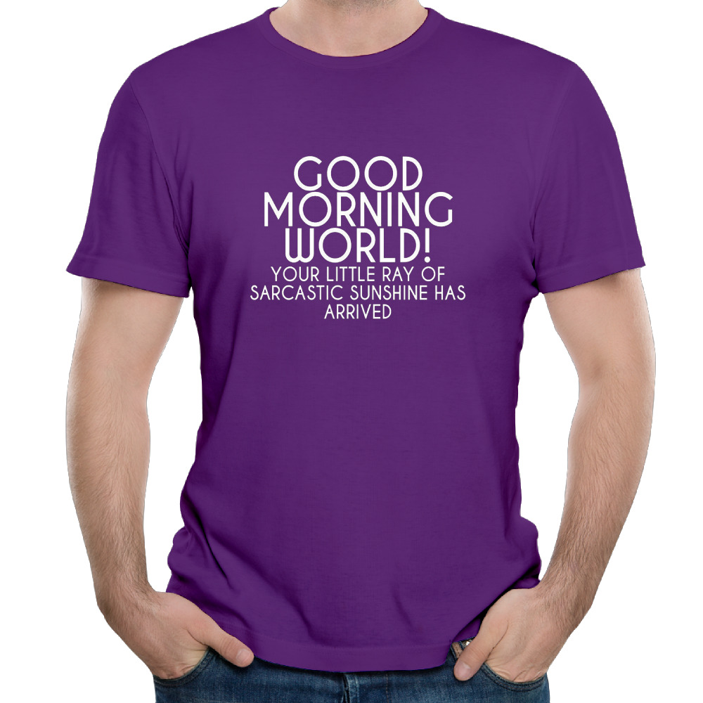 Good Morning World Cotton Printed O-Neck Short Custom Mens T-shirts Cartoon Purple Tumblr