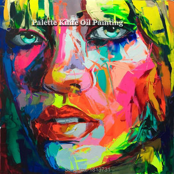 Hand painted Francoise Nielly Palette knife portrait Face Oil painting Character figure canva wall Art picture15-22