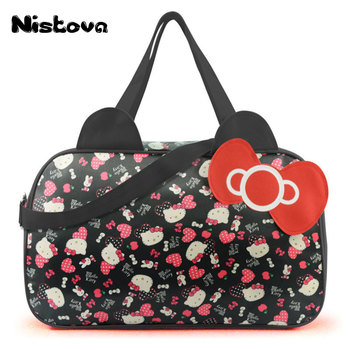 75d3d26cb0 High Quality Waterproof Travel Bag Luggage Womens Girls Cartoon Shoulder  Tote Duffle Bags Cute Hello Kitty Cat Handbags Accessories Supplies