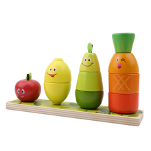 Stacking-Block Toddlers Educational-Toy Fruit-Shape Kids Wood for Baby Color-Sorter Chunky