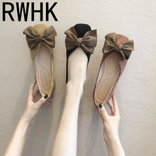 RWHK 2019 summer new Korean version of the wild bow square head single shoes female flat bottom shallow B273