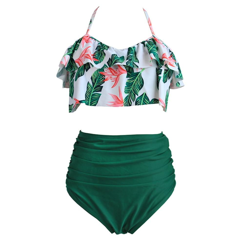 2019 Summer Ruffled Strapless Sexy Bikini Women With High Waist Pants Swimsuit Beach Bathing Suit S-XXXL