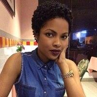 Esin Mieszane Włosy Peruki 30% Syntheitic Włosów + 70% Naturalne Włosy dla Czarnych Kobiet Krótki Perwersyjne Afro Kręcone Peruki Afro-amerykańskich Kobiet