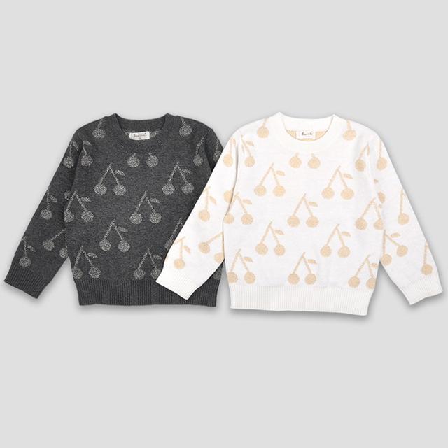 Cereza de Punto Niñas Suéteres de los Bebés de los Suéteres de Otoño Ropa Infantil Niños Niñas Niños Suéter prendas de Vestir Exteriores Brillante Linda