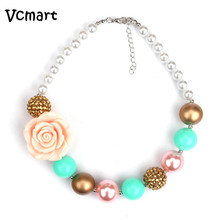 2pcs St. Patrick Day Necklace Beautiful Girls Chunky Necklace Rose Flower Beads Bubble Gum Necklace Photo Prop Birthday Gift