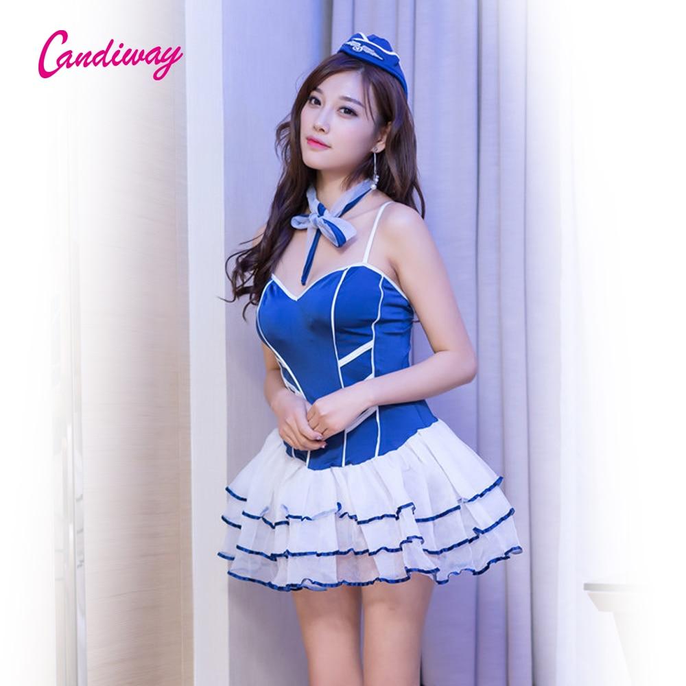 Candiway Blue Wedding Dress Cosplay Porn Panties Robe Sexy -7450