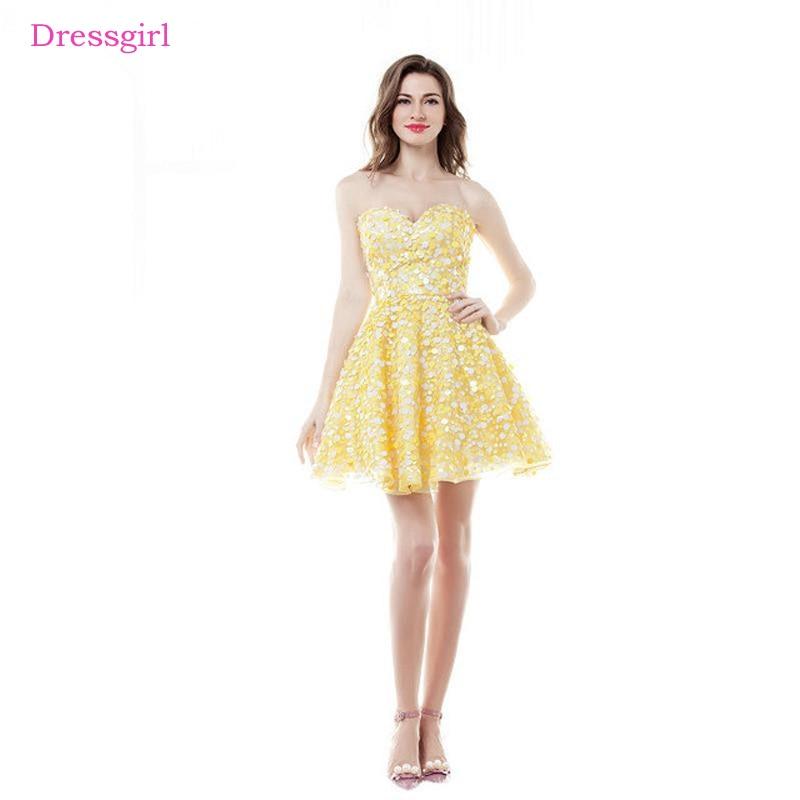 Желтый 2018 Бальные платья A-Line Милая Короткие мини Блёстки Искра спинки Элегантный Коктейльные платья
