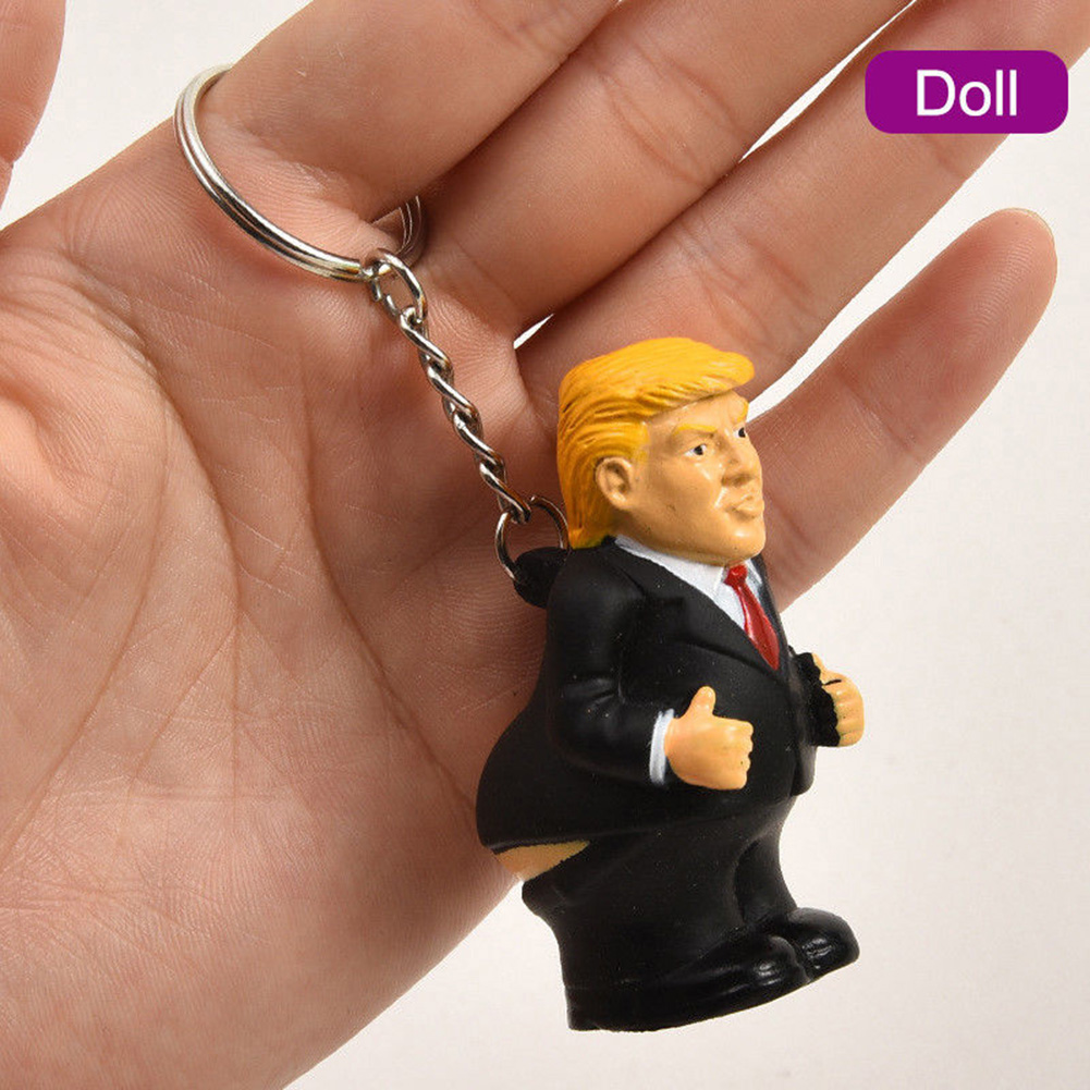 Spoof Car President Keychain Toy Squeeze Poop Keyring Pendant Bag Funny Doll Simulation Donald Trump