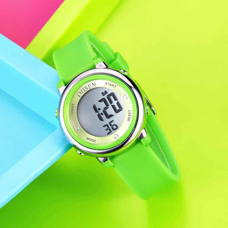 2016 OHSEN marque numérique LCD enfants filles mode montre-bracelet mignon rose bracelet en caoutchouc 50 M étanche enfant montres réveils à main