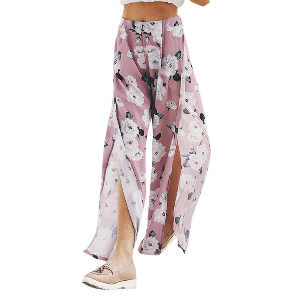 KLV #ZG4 NEW HOT 2019 Free Ship Ladies Summer Print Sexy Fashion High Slit Large Size Loose   Wide     Leg     Pants