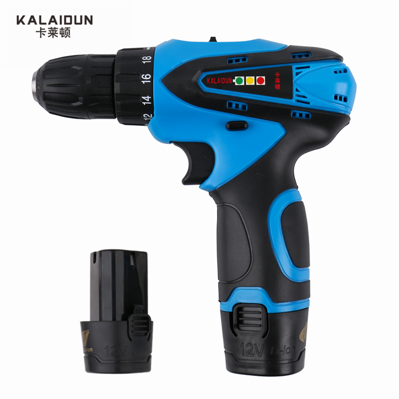 KALAIDUN 12V Electric Drill Power Tools Electric Screwdriver Lithium two Battery Cordless Drill Mini Drill Hand Tools  factory direct backup power electric tools dedicated lithium polymer battery 604060 2p 124060