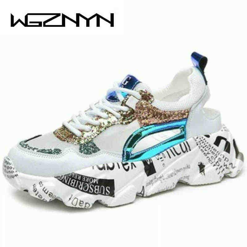 Yaz kadın Sneakers moda rahat rahat baba ayakkabı payetler kız Graffiti nefes Platform ayakkabılar kadın sandalet W401