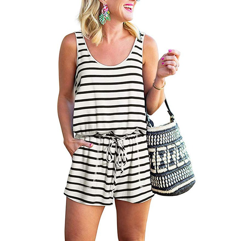 Women combinaison femme Rompers Solid Striped Jumpsuit Summer Pockets Overalls Jumpsuit Female Playsuit in Rompers from Women 39 s Clothing