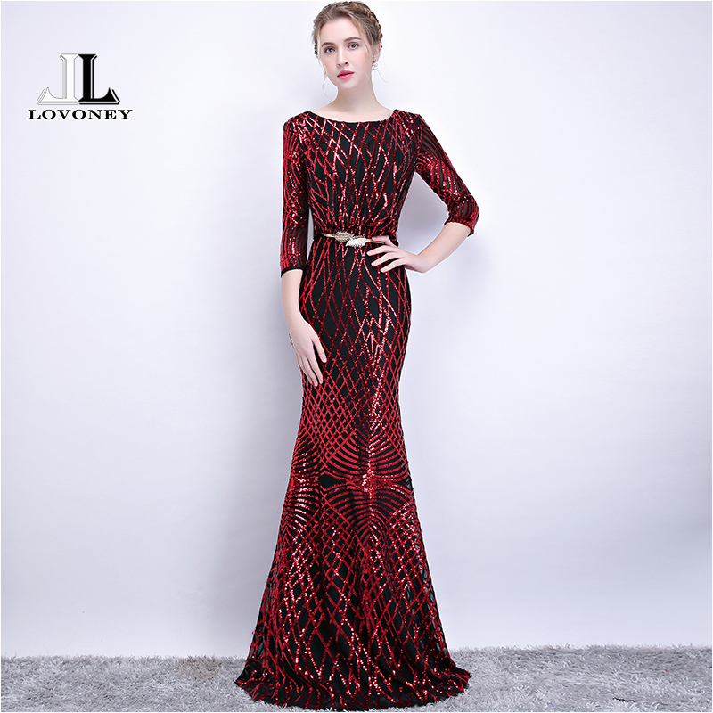 LOVONEY Sexy Open Back Mermaid Sequin Long Evening Dress Party Evening Gown Formal Occasion Dresses Vestido De Festa Longo YS417