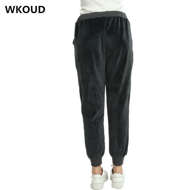 WKOUD Women Winter Velvet Pants Gold Fleeces Thickening Elastic Drawstring Waist Harem Pants Female Warm Hot Trousers P8103 4