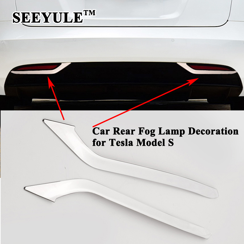 2pcs/set SEEYULE Car Rear Fog Lamp Decoration Trim Styling Sequin Cover Sticker Car Exterior Accessories Refit for Tesla Model S