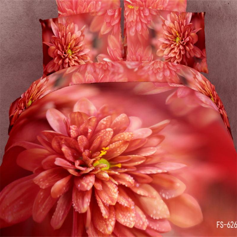 Rouge Dahlia fleurs 3D peinture à l'huile ensembles de literie reine taille pur coton réactif impression draps de lit housse de couette ensembles de chambre