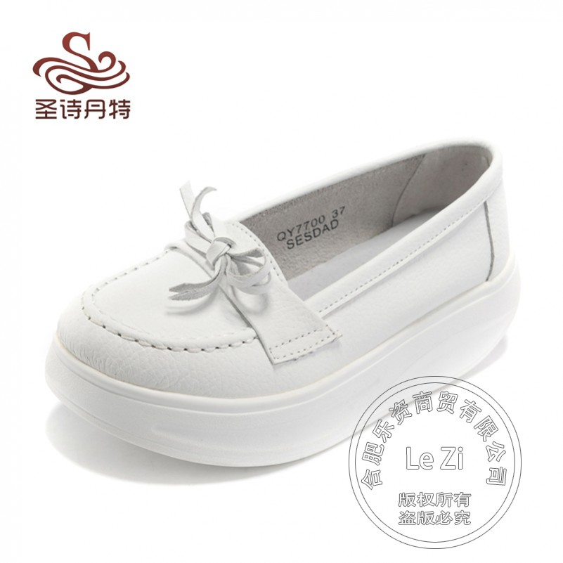 Casual Genuine Leather Thick Soled Comfortable Increased Internal Spring Autumn 2015 Nurse font b Women b