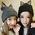Новый теплый осенью и зимой береты Мода женщин кошачьи уши трикотажные шерсть шляпа Девушка теплую шапку