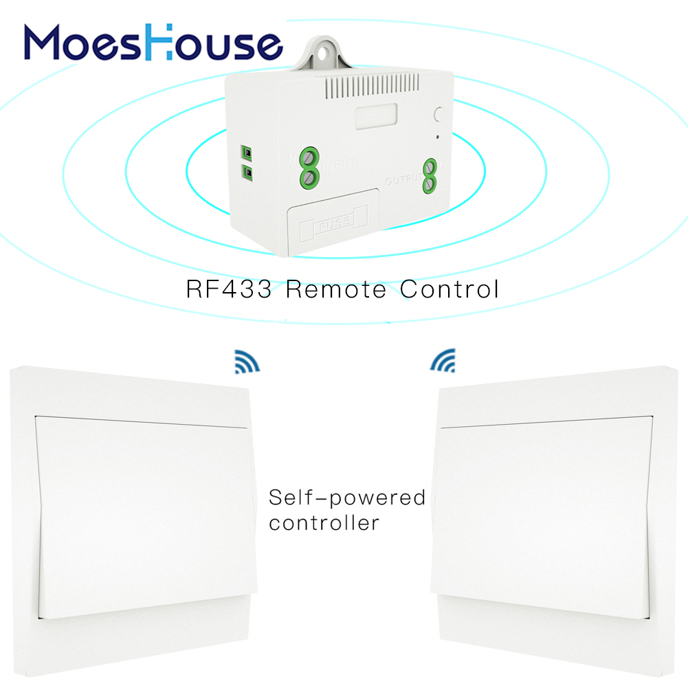 RF433 Wireless Self Powered Remote Control Smart Switch No Battery Needed No Wire.Wall Panel Transmitter Rocker Push Button