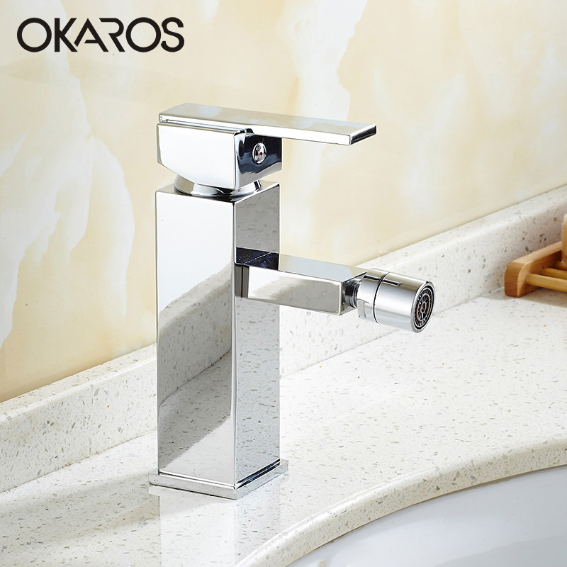 OKAROS Basin Faucet Bathroom Faucet Bidet Faucet Chrome Plated Rotation Spout Single Handle Water Tap Mixer Torneira Cozinha micoe hot and cold water basin faucet mixer single handle single hole modern style chrome tap square multi function m hc203