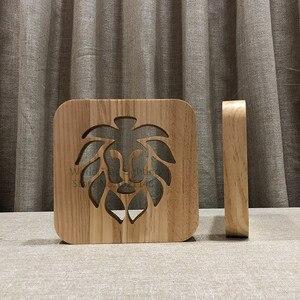 Image 3 - 3D木製ライオンランプ動物のスタイルのusb ledテーブルライトルススイッチ制御ベベノーチェ木材彫刻のための寝室のインテリア
