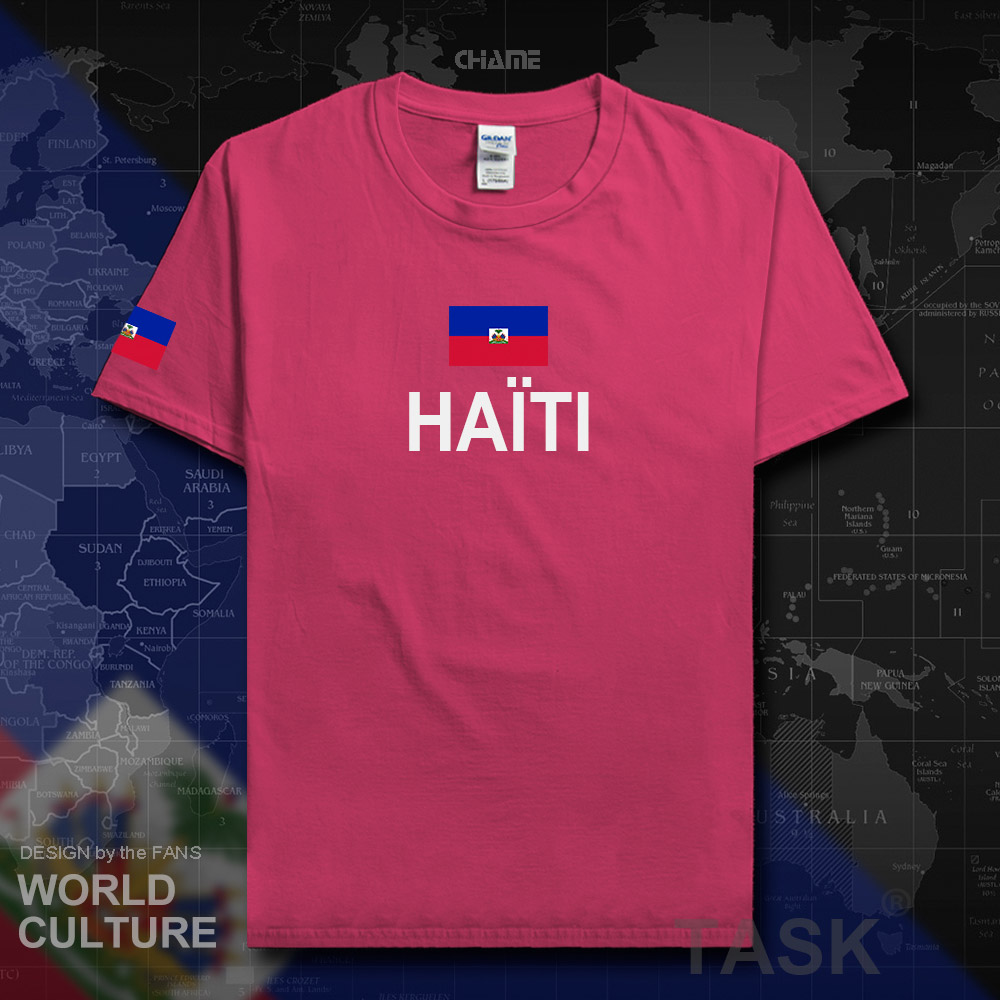 Mens Haiti T Shirt Personalized Tee Shirt Round Neck Streetwear Loose Funny Summer Outfit Shirt High Quality Goods Tops & Tees