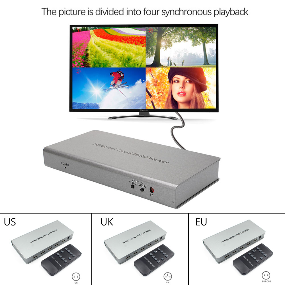 New 1080P HDMI 4x1 Quad Multi-viewer Splitter Converter With Seamless Switcher IR Remote Control GDeals 4x1 hdmi multi viewer switcher hdmi quad screen real time multiviewer with hdmi fast switching function full 1080p 5 modes