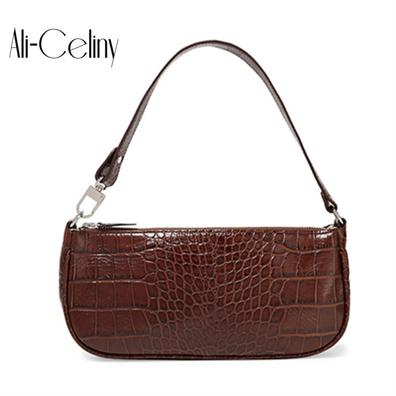 2019 Croc Baguette Bag for Women Crocodile pattern Patent Leather Handbags Vintage Luxury Designer Tote Bags Brand Small Clutch