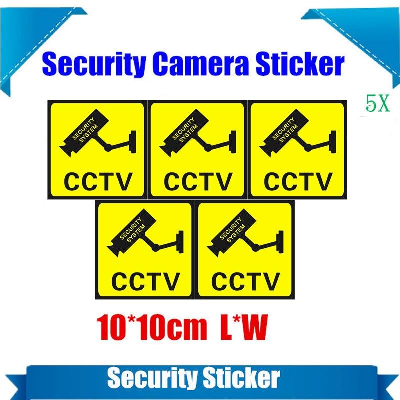 5 Stücke Wasserdichte Sicherheit Kamera Aufkleber Warnung Aufkleber Zeichen Für Cctv Überwachung, Gefälschte Kamera Und Dummy Kamera