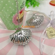 free shipping30pcslottea party giveaway stainless steel sea shell tea infusers wedding tea strainer bridal shower favors