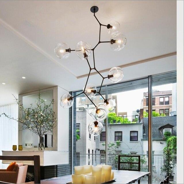 Loft Industrie 10 Lichter H200cm Gold Anhänger Lichter Schwarz Gold Für Bar  Treppenhaus Esszimmer Glasschirm Retro