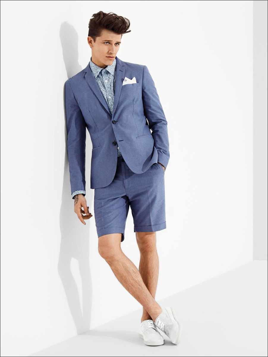 Latest Coat Pant Designs Blue Casual Suits For Men Custom Beach Summer Short Pants Groom 2 Piece ...
