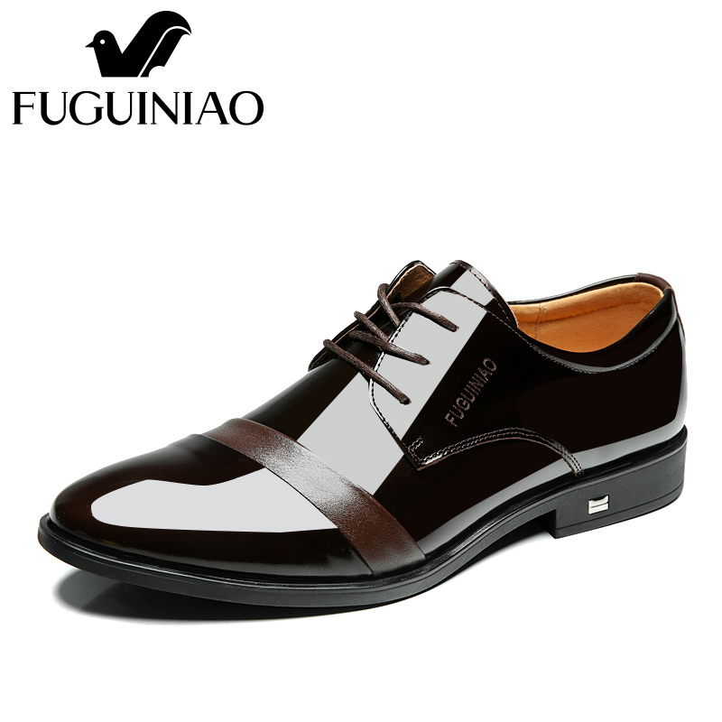 Free shipping FUGUINIAO genuine leather shining leather fashion Men s Dress Shoes Business Shoes color black
