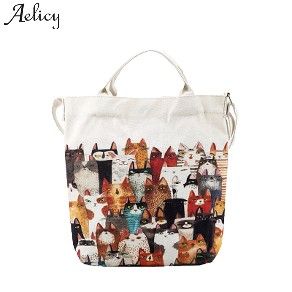 Dropshipping  SALE Cartoon Cats Printed Beach Bag Canvas Tote Shopping Handbags Femme Bags Bolsa Feminina SAC