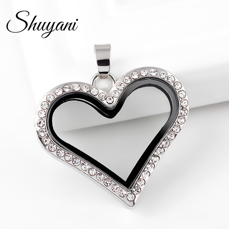 10 STÜCKE !! YANI SCHMUCK Fashio Schmuck 30MM Floating Heart Medaillon Anhänger mit Strass Magnetic Photo Glass Living Memory Medaillon