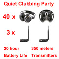 Silent Disco complete system black folding wireless headphones - Quiet Clubbing Party Bundle (40 Headphones + 3 Transmitters)