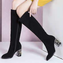 2016 Fall Winter Women's Knee High Boots Thick High Heel Tall Boots Rhinestone Heel Real Leather Fashion Long Boots Shoes Women