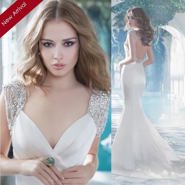 Sheath Satin Wedding Dresses 2015
