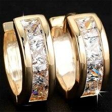 c42e69af88b3 Clásico de oro de cristal de Color pequeño aro redondo Pendientes para las  mujeres Simple Mini círculo Pendientes para boda Pend.