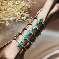 Natural Emerald Rings with CZ for Women Anniversary Party 3X6mm 0.3Ct Marquise faceted Genuine gems 925 Sterling Silver #509