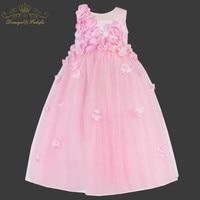 Baby Girl Dress Christmas 2018 Brand Kids Dress for Girls Clothes Pink Flower Applique Vestidos Children Clothing Princess Dress