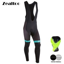 Zealtoo Ne'w Winter Thermal Fleece Cycling Long Bicycle Bib Pants Gel Pad Bike Tights Mtb Men Ropa Ciclismo Invierno недорого