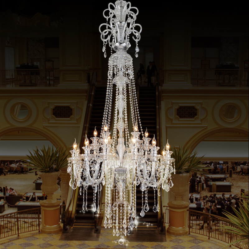 Large crystal chandelier 18 Arms Luxury crystal light Fashion chandelier crystal light Modern Large chandeliers staircase lamp zx luxury modern crystal chandelier large hall led pendant lamp creative staircase light villa penthouse crystal ball light