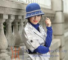 Free Shipping Women Hat Pure Wool Felt Hat Winter Top Hat Fedoras Beautiful All-Match Diamond-Studded Dome Shape Women's Fedoras