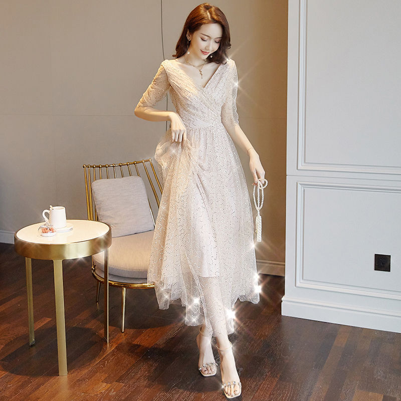 V Neck Dresses Women Dresses Party Dresses Lace Bling Dinner Clothing Korean Style Dignity And Elegant Lady Summer Dresses Dresses Aliexpress